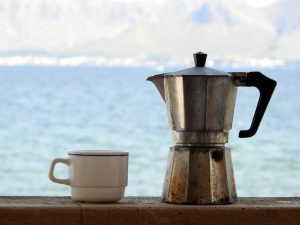 stovetop espresso maker by the sea