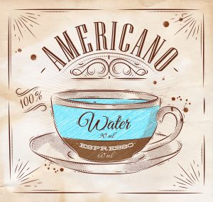 Poster coffee americano in vintage style drawing on kraft