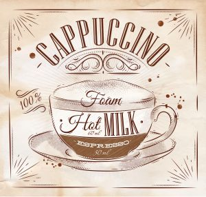 Poster coffee cappuccino in vintage style drawing on kraft