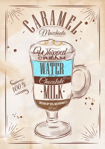Poster coffee caramel macchiato in vintage style drawing on kraft