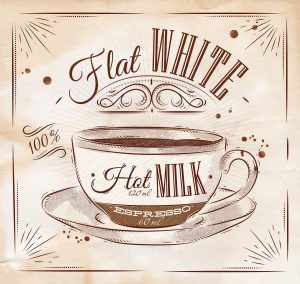 Poster coffee flat white in vintage style drawing on kraft