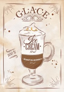 Poster coffee glace in vintage style drawing on kraft