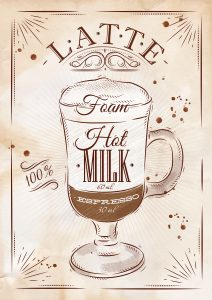 Poster coffee latte in vintage style drawing  on kraft