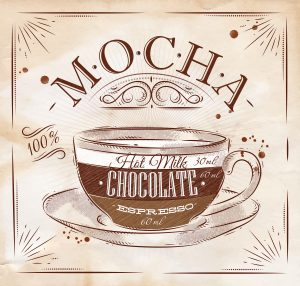 Poster coffee mocha in vintage style drawing on kraft