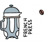 cute drawing of a french press