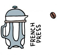 cute drawing of french press