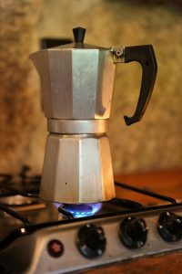 moka pot on a flame