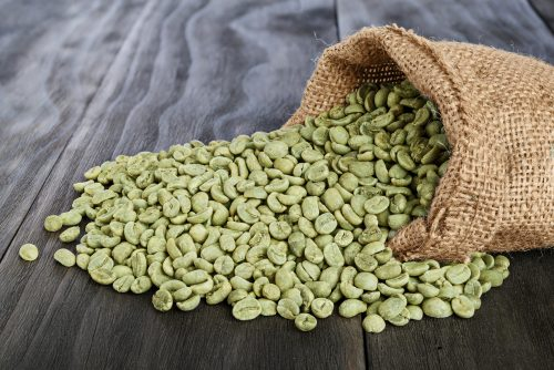 a bag of green coffee beans