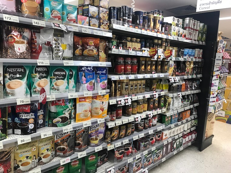 coffee aisle in a supermarket