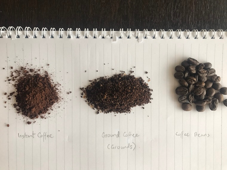 comparison of instant coffee and grounds and whole coffee beans