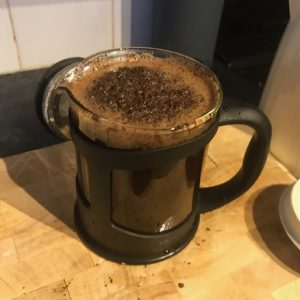 A French Press brew in progress.