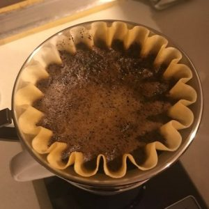 Kalita Wave with coffee brewing inside it