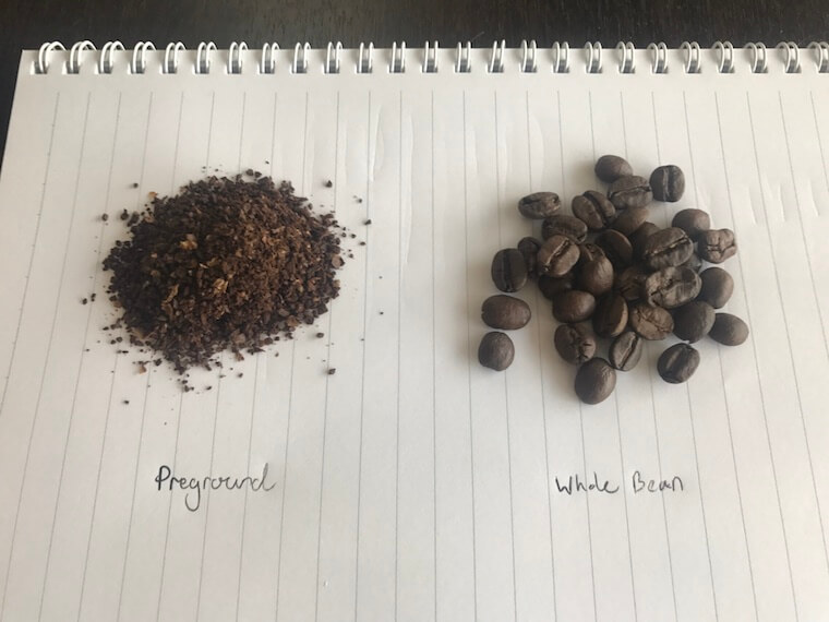 comparison of preground and whole bean (grind fresh)