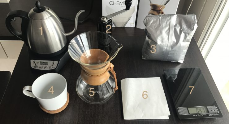 setup of the chemex and other paraphernalia