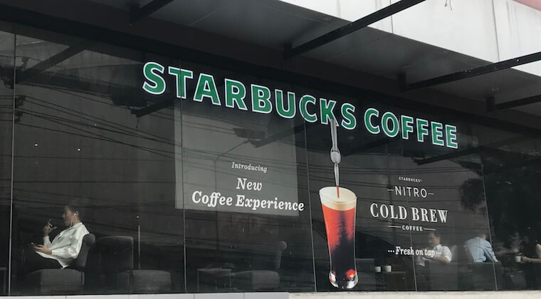 starbuck nitro coffee being advertised outside