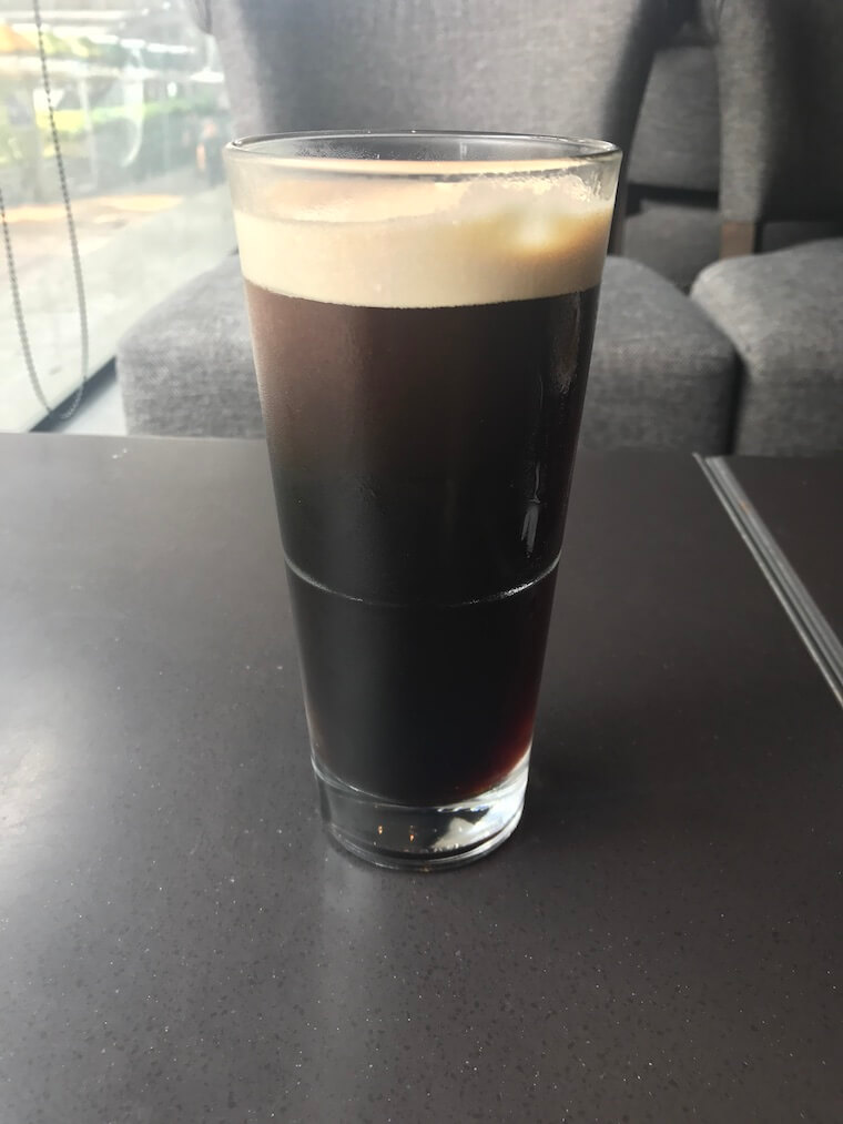 Nitro coffee after it has finished bubbling