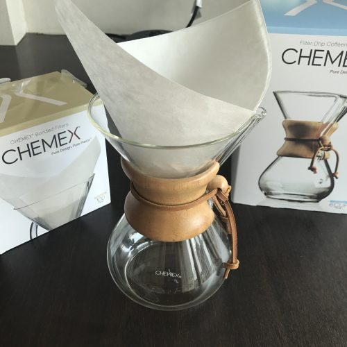 chemex and the boxes for it and its filters
