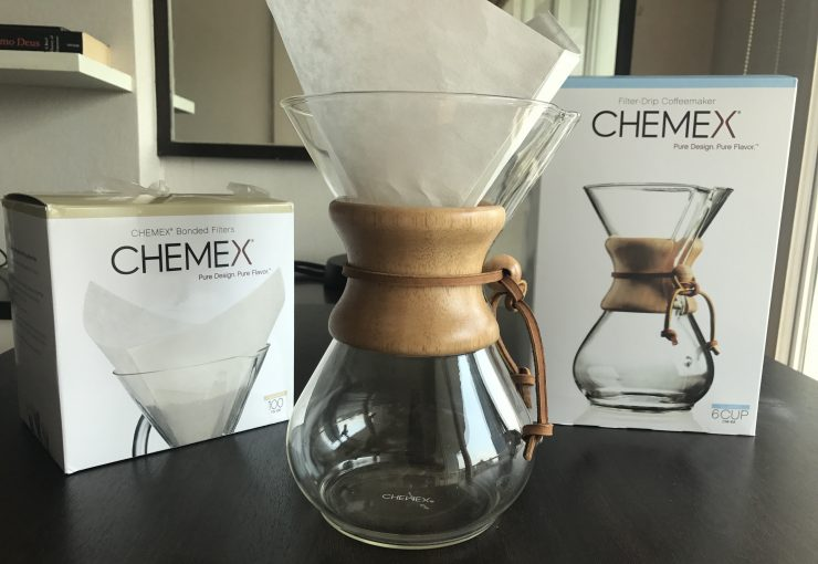 photo of chemex with a filter in a the chemex boxes either side